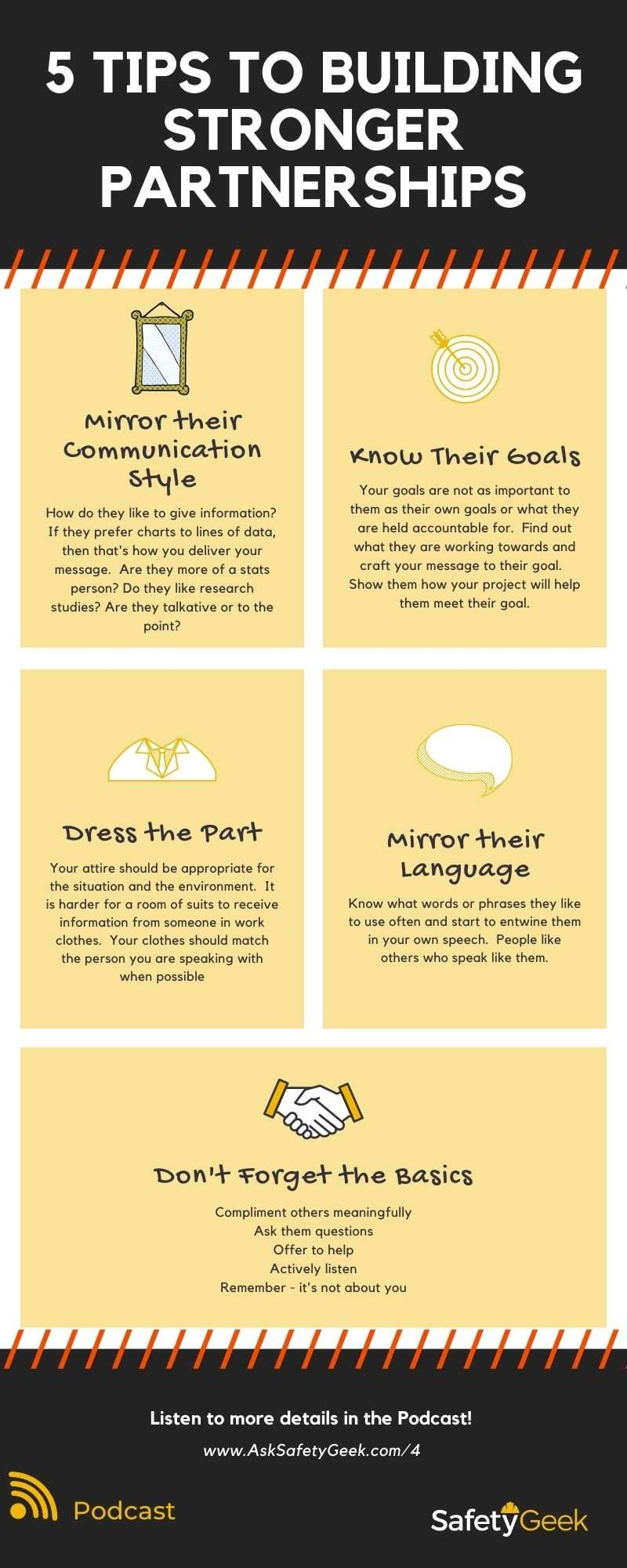 Infographic with 5 tweaks to make in your communication style