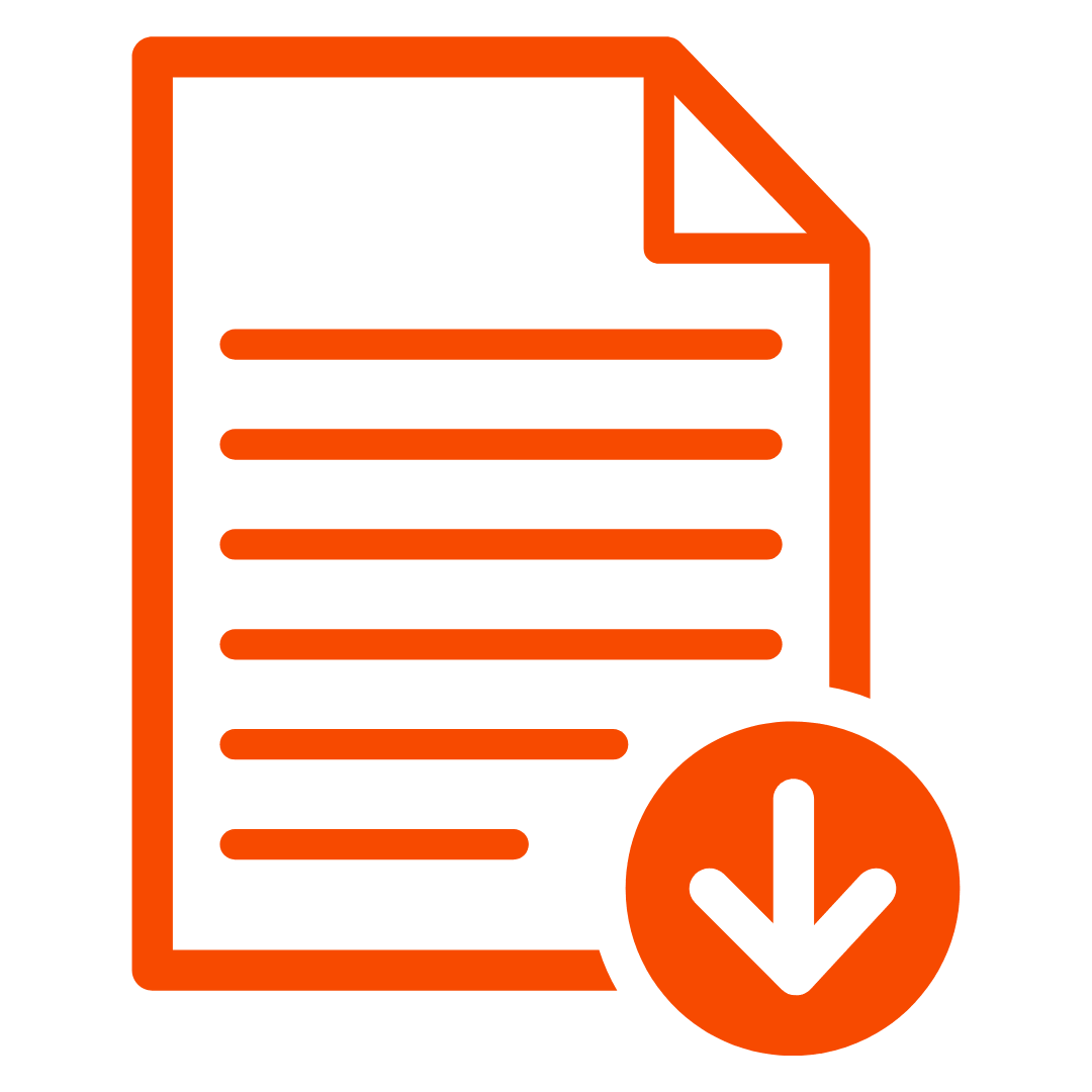 orange document icon with down arrow indicating download
