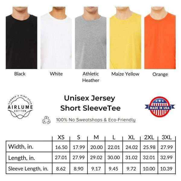 Sizing chart for The Safety Geek Tshirts