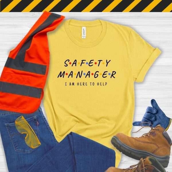 Yellow safety manager tshirt that looks like the Friends Logo and says I'm Here to Help