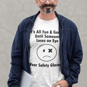 safety manager holding computer wearing a funny ppe tshirt