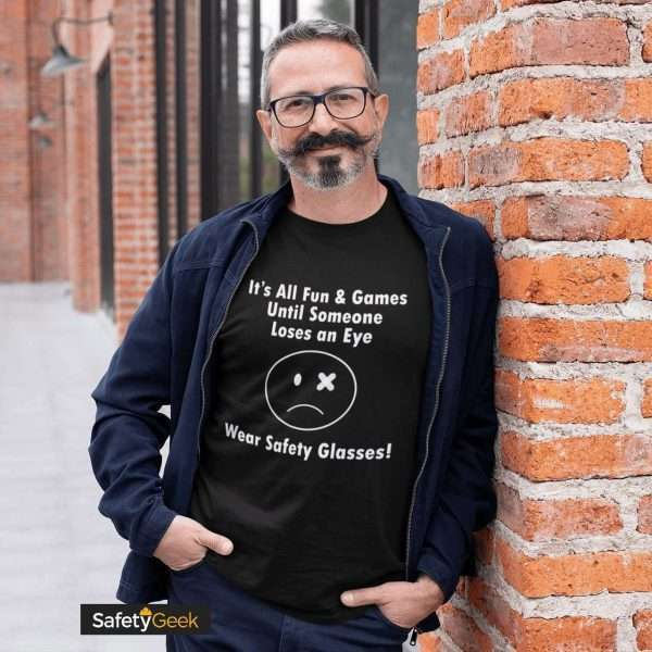 Safety Manager wearing a funny safety tshirt