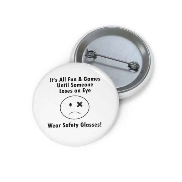 Safety Glasses Button sad face with injured eye